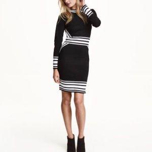 H&M black white stripe fine knit sweater dress